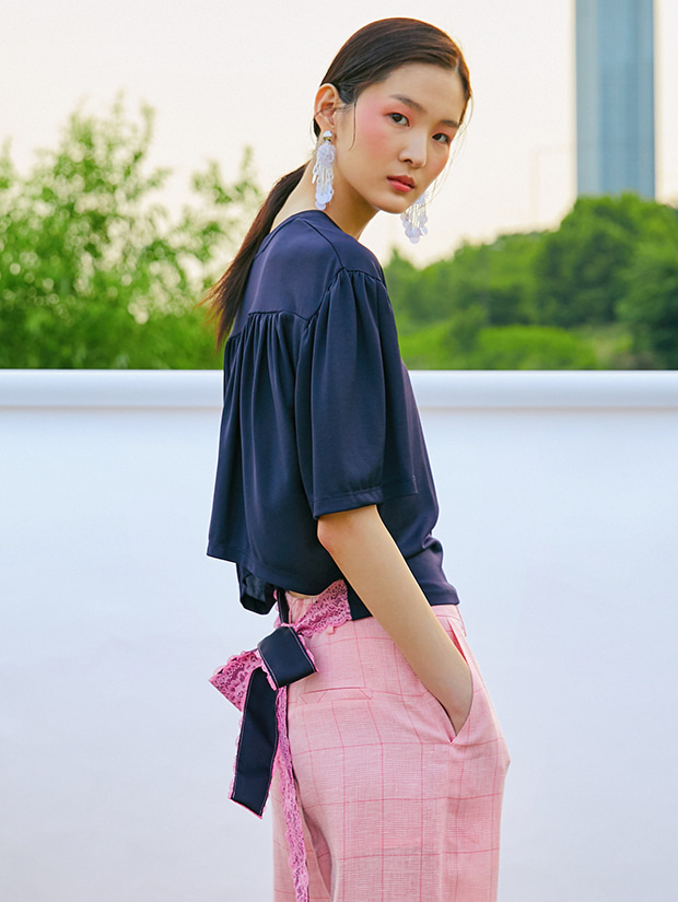 19SS BACK RIBBON T-SHIRT_NAVY