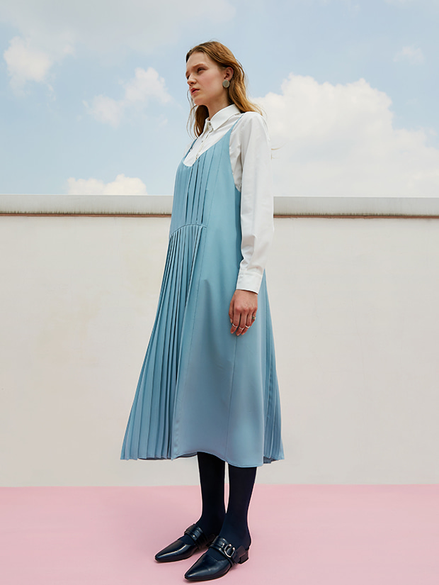 (20일 예약배송)19FW 1ST PLEATS SLIP DRESS_LIGHT BLUE