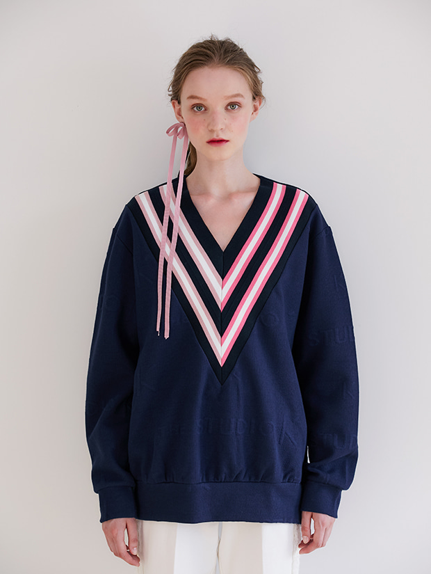 19FW PRE-FALL V-NECK BANDING SWEAT_NAVY