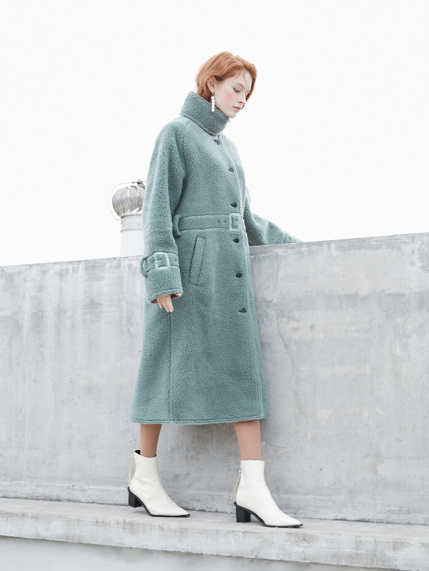 19FW 2ND REVERSIBLE ECO FUR LEATHER COAT_green